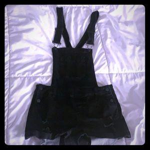 Pants - Black denim short overalls